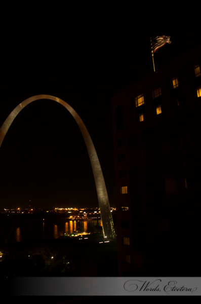 Night view of the Arch from our room