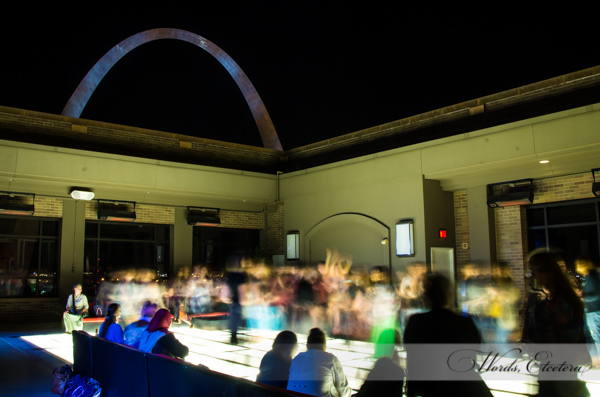 8 second exposure, open roof dance floor looking at the Arch