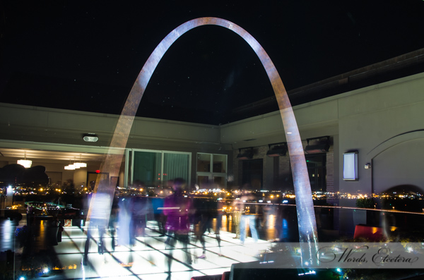 MANA 2014 dance, 25 second exposure, looking at Arch through window, dancefloor in reflection